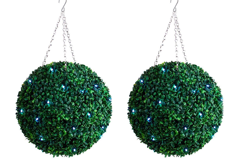 2 Best Artificial Pre Lit 35cm grön Boxwood Topiary Balls Hanging Grass Garden