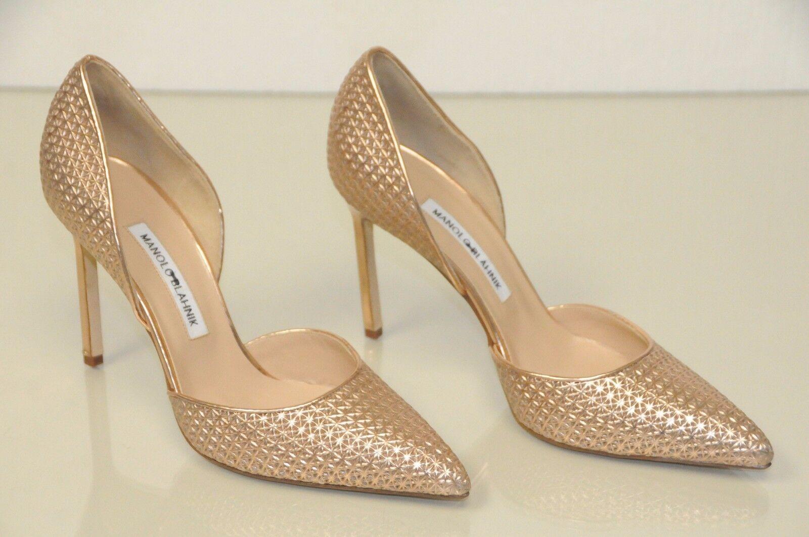 New New New Manolo Blahnik Tayler rose Rose or Metallic Pump Dorsay chaussures 39.5 40.5 e75202