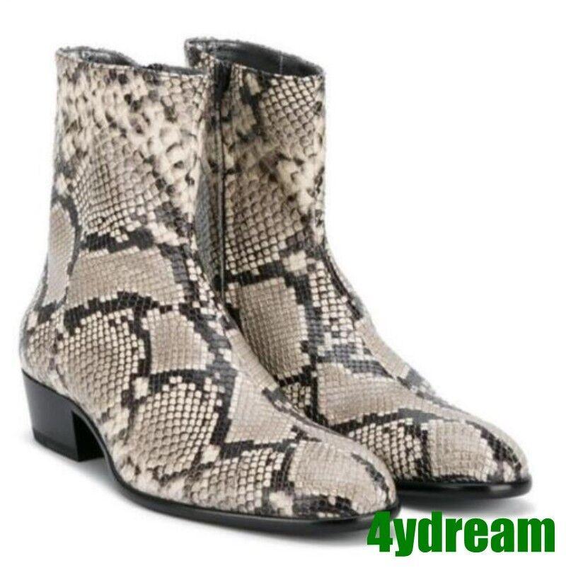 Hot Para Hombre De Cuero botas al Tobillo Puntera puntiaguda de piel de serpiente Estilo Chelsea Zapato de vestido de motor