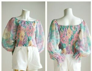 Vintage Pastel Pink Turquoise Balloon Sleeve Smocked Bodice Cropped Top M