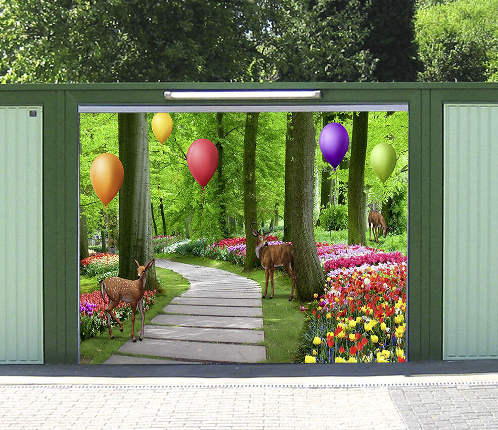 3D Balloon Deer 8 Garage Door Murals Wall Print Decal Wall AJ WALLPAPER UK Carly