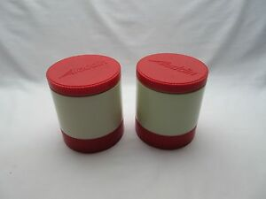 2 Vintage? retro American Aladdin red & cream plastic Thermo jars  flasks 7100