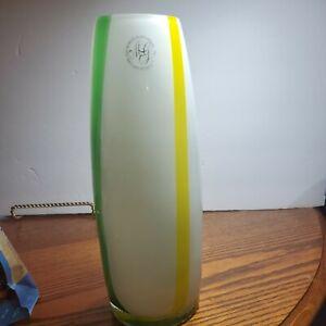 Margies Garden Hand Blown By Creative Artisans Green&White Glass Vase 11 in