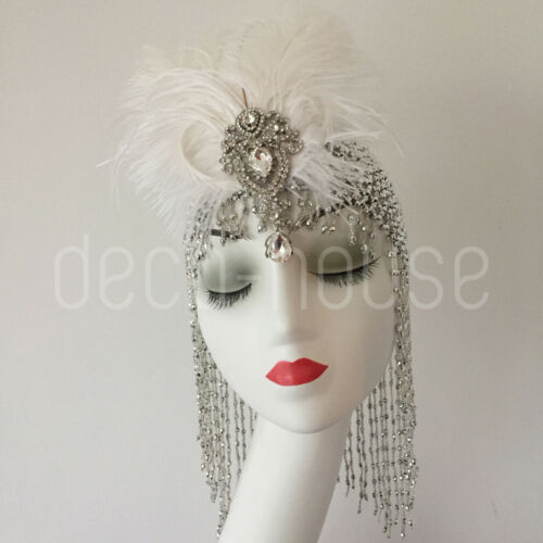 Cleopatra Beaded Hat Feather Hair Clip Headpiece Fancy Dress Costume Belly Dance