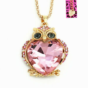 Betsey-Johnson-Big-Love-Heart-Crystal-Owl-Pendant-Sweater-Chain-Necklace-Gift