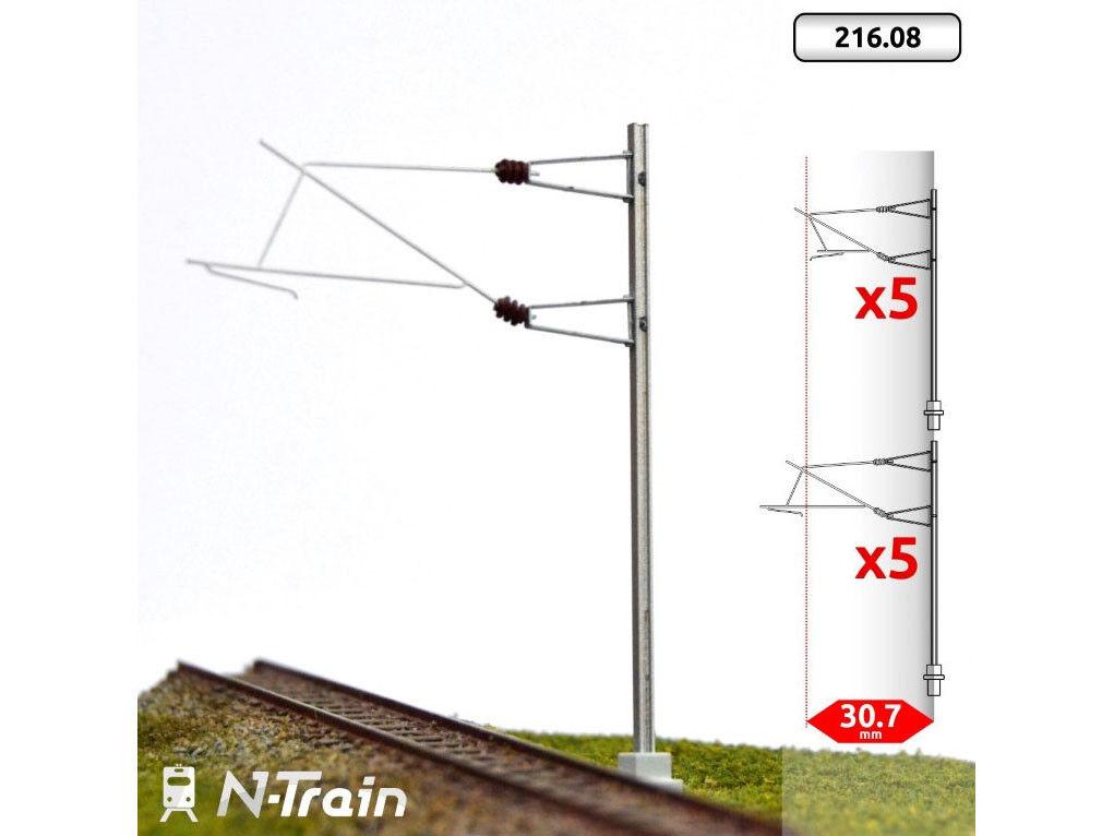 N-Train 216.08 - Oberleitung 10x SNCF-H-Profil-Masten mit Ausleger für 25 kV L2