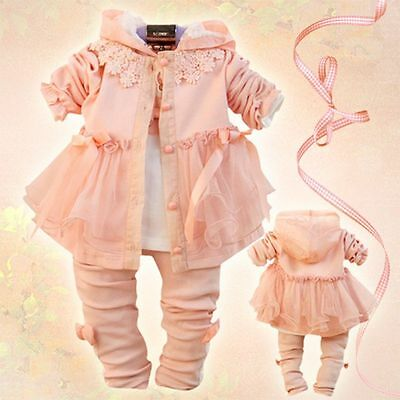 Toddler Girls 3 PC Outfit Set Casual Suit Dress Size 1-4yearrs Floral.