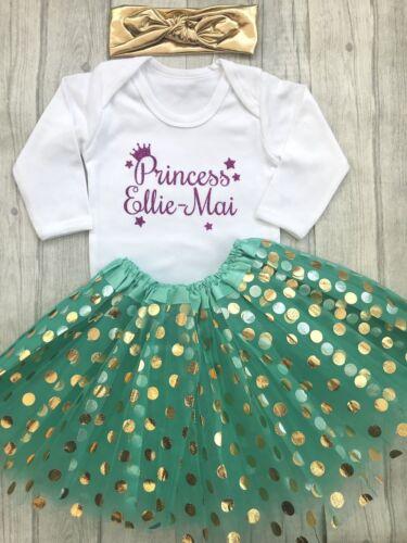 Dark Pink Princess Name PERSONALISED PRINCESS TUTU SKIRT Green Gold HB LSleeve