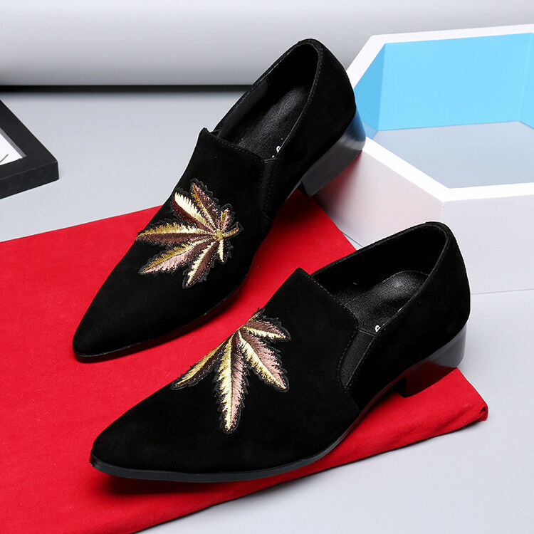 Scarpe casual da uomo New uomo Suede embroidery leaves Slip On Loafers Date Work Casual Shoes Plus sz