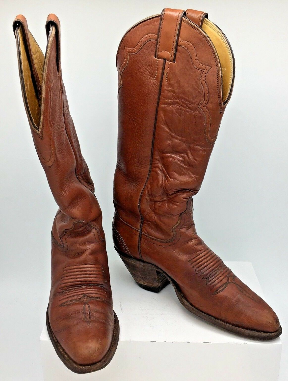 Vintage Justin Tall with Braun Leder Cowboy Stiefel with Tall Broguing Damenschuhe Sz 7B L4138 246a76