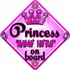 Princess Elsie-May On Board Personalised Girl Car Sign Child Gift 001
