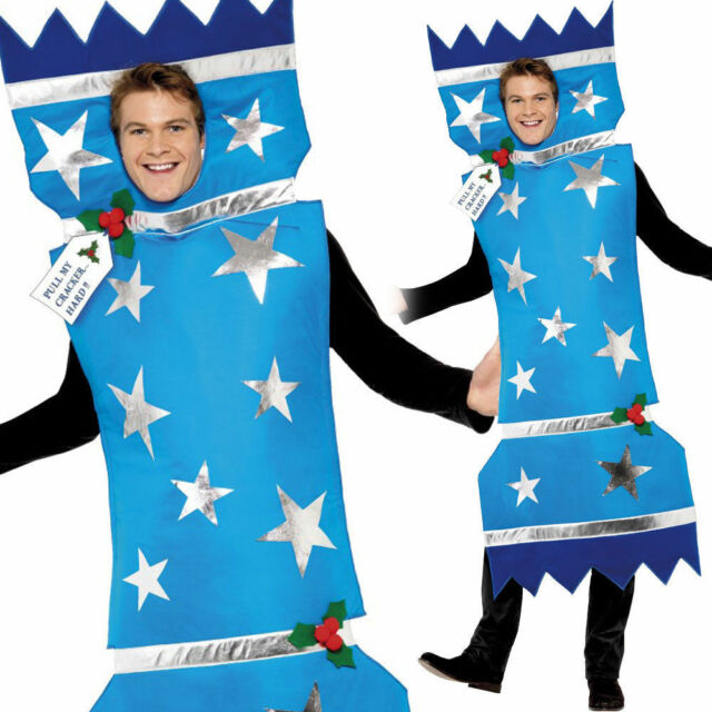 Adult Christmas Cracker Costume Mens Ladies Xmas Fancy Dress Outfit Novelty - Adult Christmas Cracker Blue Fancy Dress Costume Comedy Funny