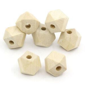 80-Stk-Geometrische-Polygone-Holzperlen-Holz-Perlen-Schmuck-Basteln-Natur-10x13