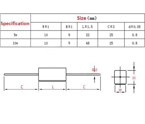 Wirewound Cement Resistor Ceramic 10W Tolerance ± 5/% 1 Ohm 2 5 8 10 15 20 25 Ohm