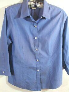 dc87efc7c3 L.L. BEAN S BLUE COTTON Button FRONT 3 4 Sleeve Shirt TOP Blouse ...