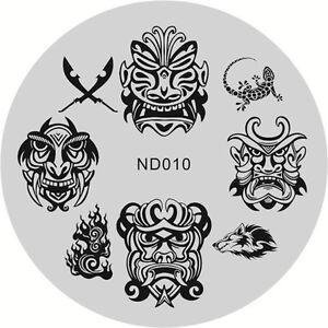 Nagel Kunst Schablone Stamping Rund Platte Stencil Maniku00fcre Lu00f6we Muster ND010 | EBay