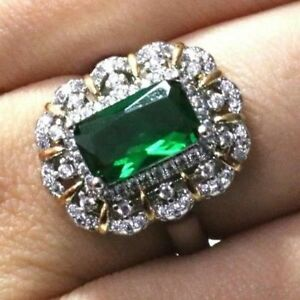 3-75-Ct-Baguette-Emerald-Ring-Women-Wedding-Jewelry-Gift-14K-White-Gold-Plated
