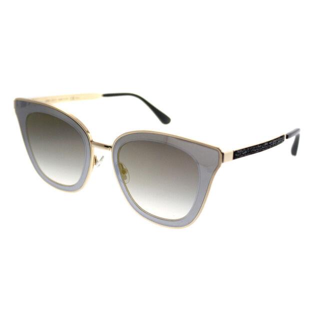 3521dd7b8874 Jimmy Choo Lory 2M2 Black Gold Cat-Eye Sunglasses gold Mirror Gradient Lens