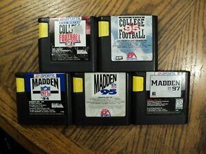 Lot of Sega Genesis Games Madden 94, 95 & 97 College Football 95 + Cartridges