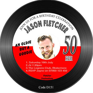 Men S Birthday Party Invitations Vinyl Record Shaped 145mm Free