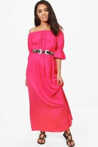 Womens-petite-hot-pink-off-the-shoulder-maxi-dress-in-size-8-10-12-new