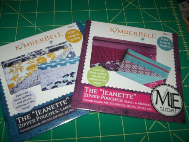 KimberBell Machine Embroidery CD ~ Zip Pouch Sm, Med, Large, Jumbo~ KD613 KD614