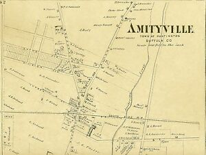 Amityville New York Map.Amityville Ny 1873 Map With Businesses And Homeowners Names Shown Ebay
