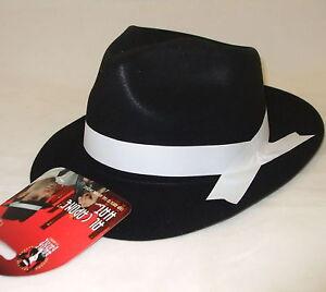 Costumi fantasiosi da uomo Cappello gangster AL CAPONE NERO bianco ... dde12491e241