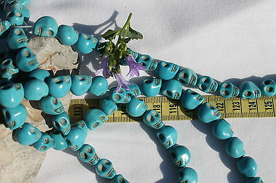 36 PCS Multi-Colored Turquoise Skull Head Howlite Spacer Loose Beads Charms 10mm