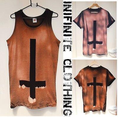 Tie Dye t shirt vest top acid wash Grunge punk dip dye Cross Hipster Retro top