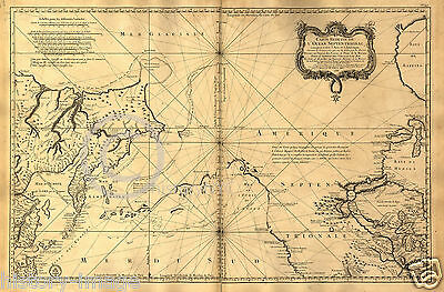 """1765 HUGE FRENCH NAUTICAL MAP ALASKA OREGON PACIFIC 44"""" by 64"""" Extra Large"""