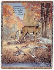 Deer & Pheasants ~ Fur Feathers & Fall Tapestry Afgan Throw w/Verse
