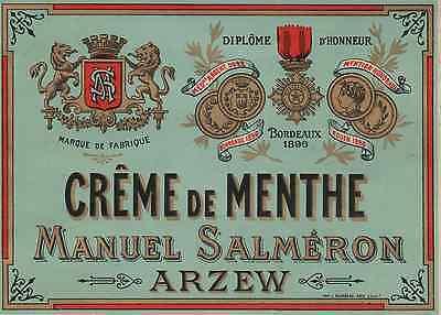 """crÊme De Menthe / Manuel Salmeron (arzew)"" Etiquette-chromo Originale Fin 1800"