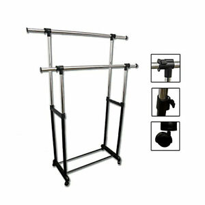 Portable-Double-Levers-Clothes-Rack-with-casters-Ore-International-NH4002