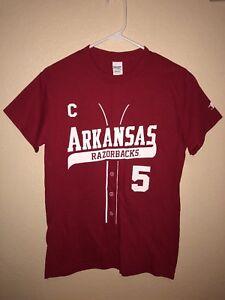 new style eb75a 5eae7 Details about Arkansas Razorbacks Matt Reynolds Baseball Jersey Red T-shirt  Size S Shirsey