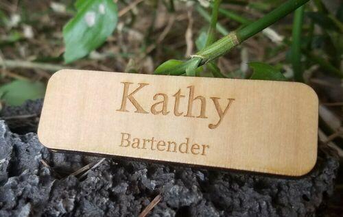 Custom wood employee Personalized Name Tag Badge ID Magnetic backing