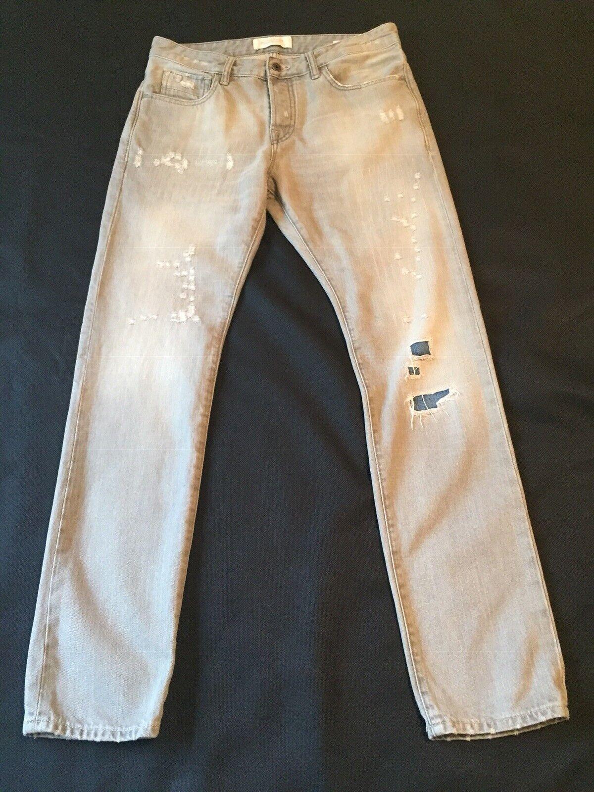 Scotch and Soda Ralston Jeans Amsterdams bluew Slim Leg Distressed Jean Sz 31 32
