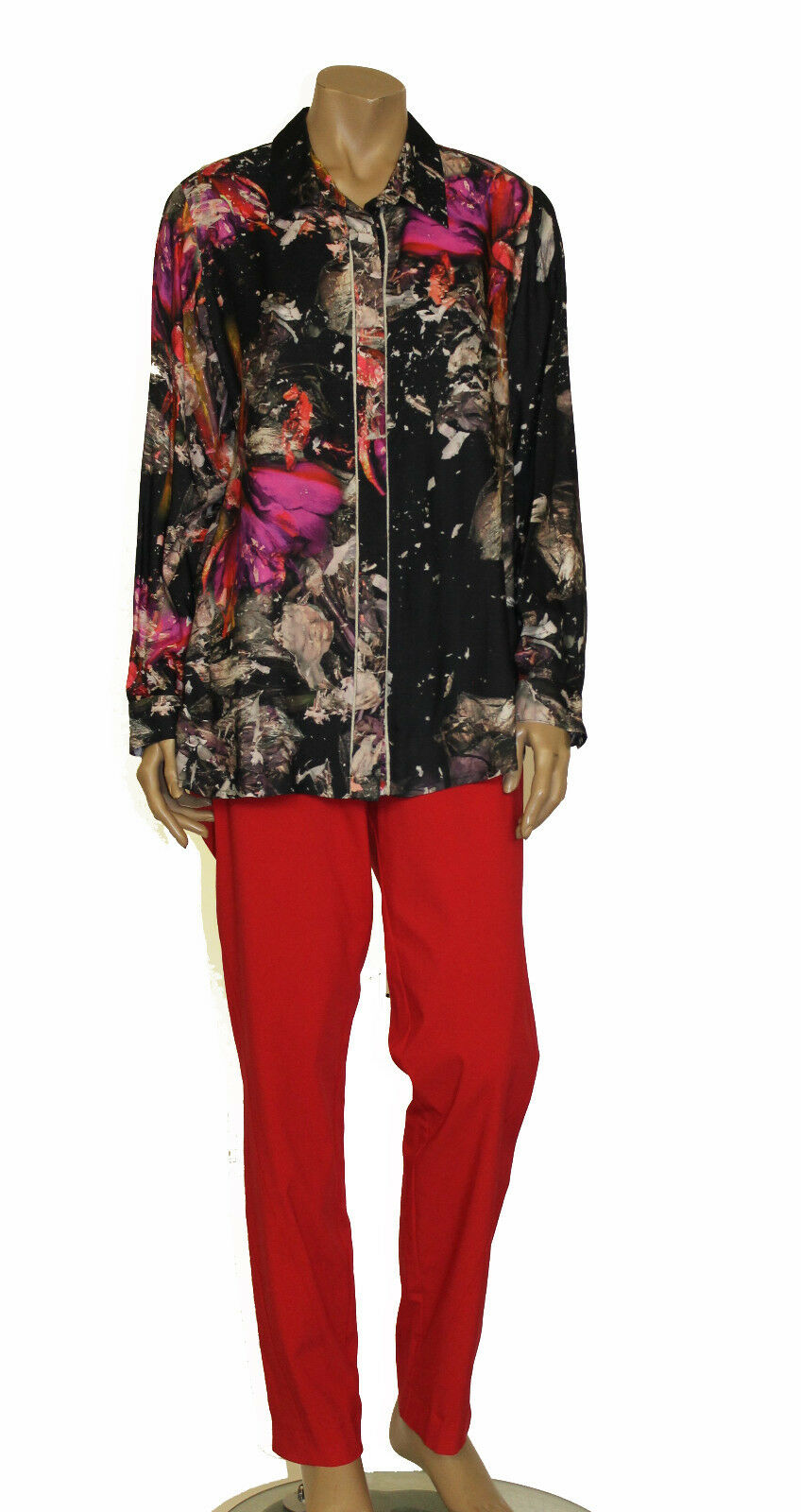 CHALOU EURO PLUS BUTTONED PRINTED LONG SLEEVES SHIRT BLOUSE MULTI COLOR 14
