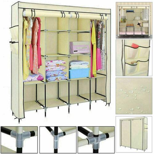 Triple PENDERIE SUSPENDU vêtements armoire Rail Stockage étagères Organisateur