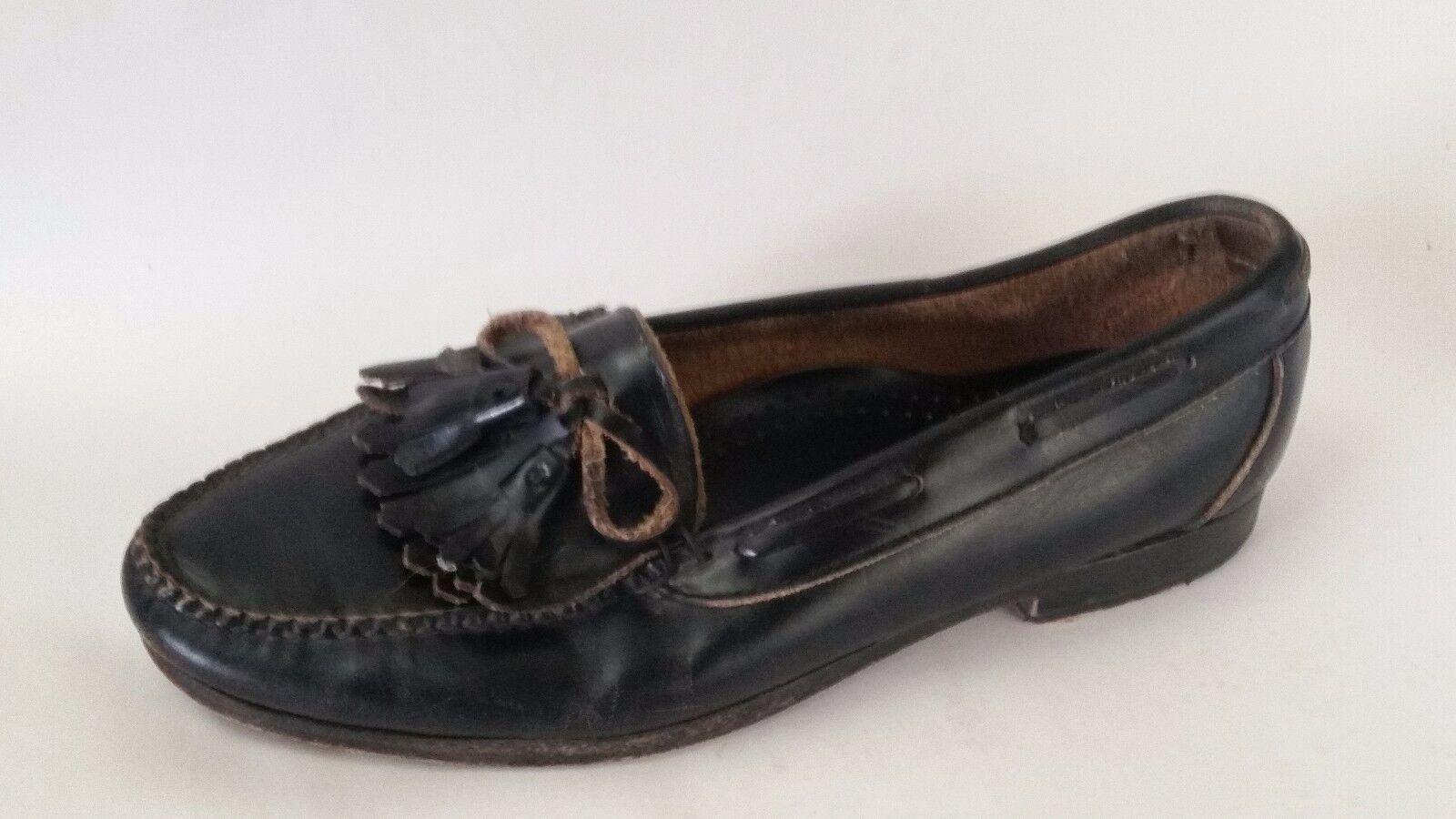 COLE HAAN Black Leather Bow Tassel Kiltie Fringe Loafer Dress shoes Mens 9.5 Med