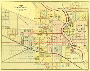 South Bend Map Old City Map   South Bend Indiana   Higgins 1875   23 x 29.00 | eBay South Bend Map
