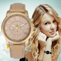 Geneva Womens Watches Roman Numerals Faux Leather Band Analog Quartz Wristwatch