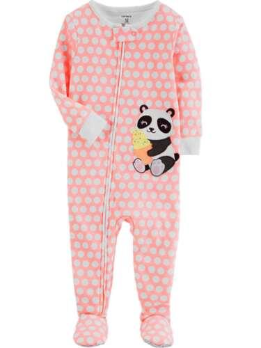 Carters Panda Ice Cream Neon Dot Infant Toddler Girl Bodysuit Sleep Suit Sleeper