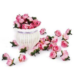 3cm-50Stk-kuenstliche-Seide-Rosen-Koepfe-Hochzeit-Blumendekoration-Rosa-Blum-X4Q9