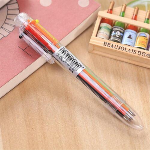 6 in1 mehrfarbiger Kuli Druckkugelschreiber Ball Point Stift Ges Zeichen T Y7L8