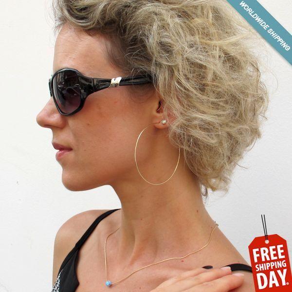 Rose Gold Hoop Earrings - Lightweight Large Hoops 3 Inch. Modern Fashion Jewelry