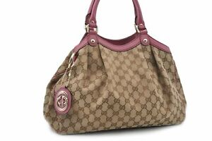 Authentic-GUCCI-Sukey-Hand-Bag-GG-Canvas-Leather-Brown-Pink-84792