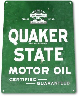 TIN SIGN Quaker State Oil Metal Décor Wall Art Garage Auto Shop A582