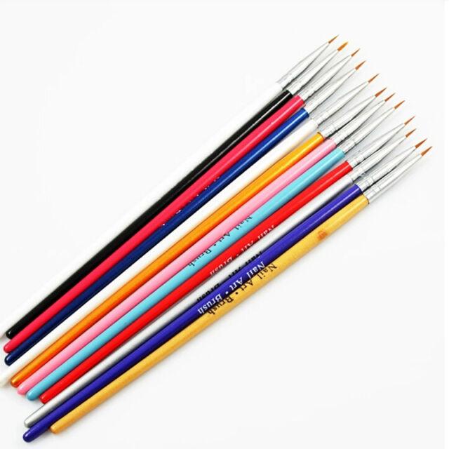 12 Pcs Colorful Nail Art Design Brush Pen Fine Details Tips Drawing ...