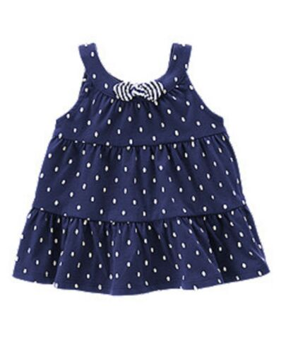 NWT Gymboree Girls Hop N Roll Navy Dot Bow Tiered Swing Top Size 2T 4T /& 5T